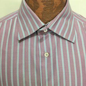 Ermenegildo Zegna 1XB Blue Red Stripe Cotton Shirt